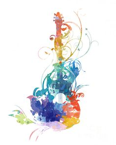 Watercolor guitar Print