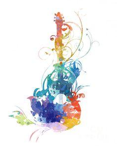 Watercolor guitar Print