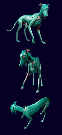 Electronic Whippet, 2014, 3D model, made with Blender #robot #dog #kutya #agár #whippet