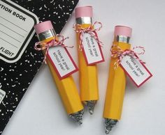 Hershey Kiss Pencils- Layer yellow,silver and pink together for the length of a small pencil wrap around pile of Hershey Kisses.. Such a cute school gift or teacher gift