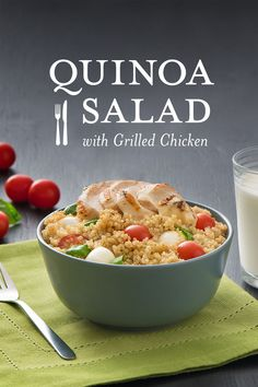 It's grainy and tomatoey goodness, and yes, tomatoey is a real word. Stick a pin here to get the tomatoey recipe. Packed with quinoa and lean chicken, you�ll find it's a good source of protein and deliciousness.