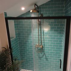 Jack's Teal Shower Room - Antique Crackle Metro Tiles - Walls and Floors Metro Tiles Bathroom, Loft Bathroom, Bathroom Kids, Bathroom Wall Decor, Bathroom Colors, Bathroom Interior Design, Downstairs Bathroom, Family Bathroom, Blue Green Bathrooms