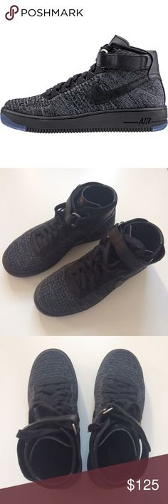 NWOT! Nike Air Force One Flyknit High Tops NWOT! Never worn! Nike Air Force One Flyknit High Tops in Black/Gray, Men's Size 8 Nike Shoes Sneakers
