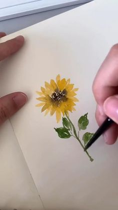 Watercolor Sunflower, Pen And Watercolor, Watercolor Paintings, Easy Flower Painting, Rock Painting Designs, Mini Paintings, Marker Art, Art Drawings Sketches, Art Tutorials