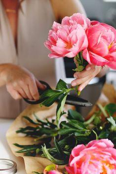 Mason Jar Bouquet - Peonies Flower Shop Names, Flower Shop Decor, Flower Shop Design, Floral Design, French Flowers, Vintage Flowers, Small Flowers, Beautiful Flowers, Flower Shop Interiors