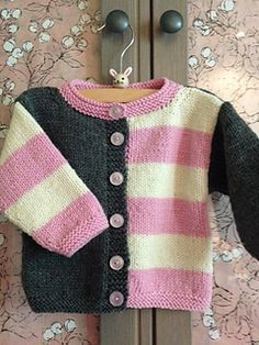 I found out that my dear friend's son and his wife are having a baby girl and the nursery colors are pink and gray. Had to make a Gingersnap and a wee one to match! The bunny is from Target. My bl. Baby Knitting Patterns, Baby Cardigan Knitting Pattern, Knitted Baby Cardigan, Knit Baby Sweaters, Knitted Baby Clothes, Knitting For Kids, Baby Patterns, Free Knitting, Crochet Baby