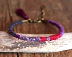 Boho winter bracelet // colorful gift for women // Fine wool