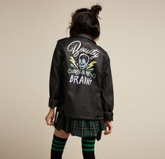 A winning combo // Beauty Brains Painted Back Faux Leather Girls Moto Jacket