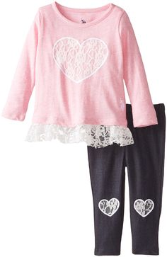 U.S. Polo Assn. Baby Girls Lace Heart Knit Tunic and Heart Leggings, Pink Peak, 18 Months