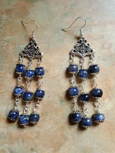 Beautiful Lapis Lazuli Dangle/Chandelier Earrings by WolfMountainJewelry on Etsy  18.00