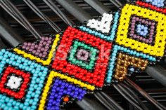 African Trim With Colored Beads Ndebele Pattern Style Фото African Design, African Art, Tapestry Crochet, Cross Stitch Flowers, Loom Patterns, Bead Art, Fashion Pictures, Pattern Fashion, Art Pieces