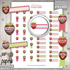 Strawberry Stickers, Reminders, Flag Stickers, Strawberries, Strawberry Flags, Stickers, Printable Planner Stickers, Strawberry Clipart