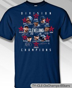 CLEVELAND INDIANS AL CENTRAL DIVISION CHAMPS 2016, 100% COTTON T-SHIRT #MLBPA