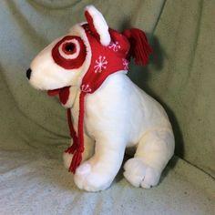 The Inn Thing Target Store Bullseye Plush Dog w/ Red Hat 14  Logo Mascot EUC | eBay
