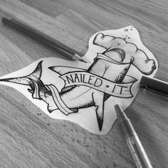 Nailed it! #nailedit #shark #sharktattoo #sharkdesign #hammerhead #hammerheadshark