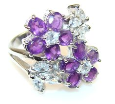 $56.25 Briliance Purple Amethyst Sterling Silver ring s. 6 3/4 at www.SilverRushStyle.com #ring #handmade #jewelry #silver #amethyst