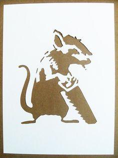 BANKSY Stencils Set Of Five Sawing Rat, Radar Rat, Businessman Rat, Parachute Rat, Photographer Rat