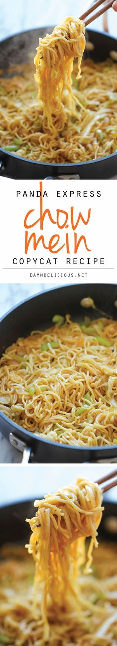 Panda Express Chow Mein Copycat - Tastes just like Panda Express. Panda Express Chow Mein Copycat - Tastes just like Panda Express except it takes just minutes to whip up and tastes a million times better! Use honey instead of sugar Think Food, I Love Food, Vegetarian Recipes, Cooking Recipes, Healthy Recipes, Crockpot Recipes, Healthy Foods, Easy Asian Recipes, Vegetarian Dinners
