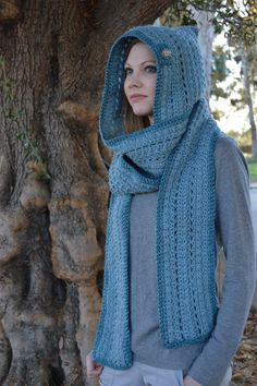 Blue hooded scarf with silver button #etsy #handmade #crochet #hats #beanie #hoodie #scarf #hoodedscarf #forest #woods #pixie #medieval #celtic #gaelic #autumn #fall #winter #rain #snow #cozy #chilly #cold #cloudy #shopping #accessories #fashion #crafts #crafty #fantasy #unique #art #artsy #indie #festival #music #retro #mens #womens #colorful #hood #style #ootd #outfit #afghan #shawl #wrap #california #girly #cute #kawaii #fairy #faeiry #magick #irish #scottish #elves #elfen #elven #elf