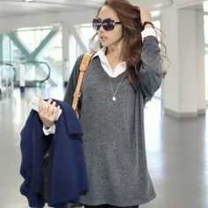 Inset Shirt Knit Top from #YesStyle <3 WINGSMALL YesStyle.com