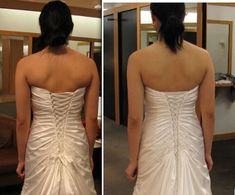 The customer wrote...Best post EVER! I tried my dress on with the alterations today, and I am soo happy. I too had a case of the back fat blues, and asked the seamstress to take two loops off the top of the corset back. I think it made a big difference. The corset is even pulled tighter than before! What do you think?