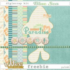 Mee scrapbook kits free download: Digital scrapbook kit BLUE SEA and freebie!