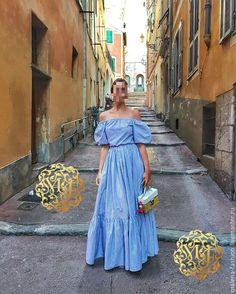 Купить Платье из хлопка - голубой, серый, платье, платье летнее, Платье нарядное, короткое платье