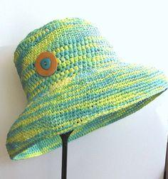 Straw Sunhat  Crochet Beach Hat  Cotton by SophiesHatsandMore, $25.00