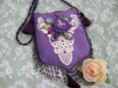Lavender Silk Dupioni Zippered Purse