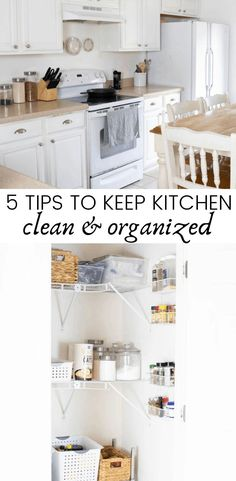 5 tips to keep kitchen clean and organized PLUS a clean with me video! Watch me organize my whole pantry and see what system I use to keep the pantry organized. #organize