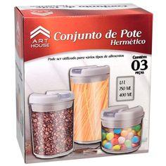 Potes Herméticos Em Acrilico Redondo c/ Tampa a Vácuo Cj c/ 3 Peças - Art House - Potes no Extra.com.br