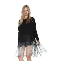 Womens Black with Ombre Fringe Nia Pullover Long Sleeve Rayon Sweater By One Grey Day