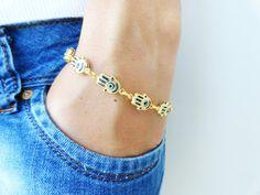 Hamsa hand of fatima evil eye bracelet  mother by Handemadeit, $12.90