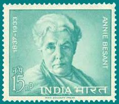 """Annie Besant stamp - A brave and dedicated woman, who fought against discrimination of race, color, gender. Her interest in education resulted in the founding of the Central Hindu College at Benares (1898). In 1916, she founded Home Rule League which advocated self rule by Indians. She became the President of Indian National Congress in 1917. She was the first woman to hold that post. She started a newspaper, """"New India"""", criticized British rule and was jailed for sedition."""