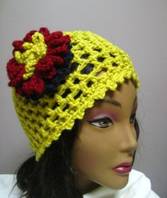 Mustard Yellow Lacy Hat with Cranberry and Navy Flower Accent