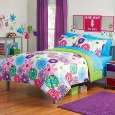 Girl Fun Bright Green Pink Purple Bright Flower Floral Full Queen Comforter Set (3pc Set)