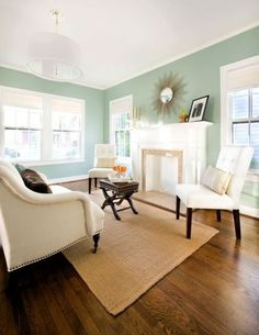 Aqua walls, dark floors, white trim. Classic beachy feel without going overboard.    traditional living room by Avenue B Development