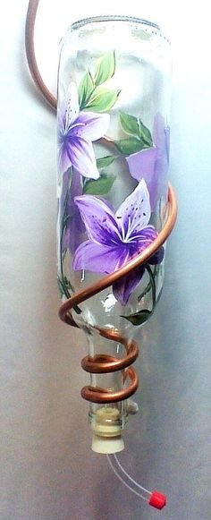 """Hummingbird Feeder-""""Up Cycled Wine Bottle""""  with Hand Painted """"Purple Lilies"""""""
