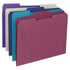 Smead® File Folders, 1/3 Cut Top Tab, Letter, Deep Assorted Colors, 100/Box