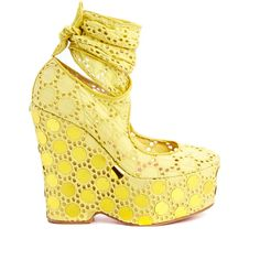 Pre-owned Women's Betsey Johnson Yellow Heels ($45) ❤ liked on Polyvore featuring shoes, pumps, yellow, betsey johnson shoes, betsey johnson, yellow pumps, betsey johnson pumps and pre owned shoes