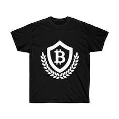 Bitcoin Shield design T-Shirt -- Ultra cotton T-shirt with a bold Bitcoin Shield design. We have lots of Bitcoin T-shirts and merchandise at CryptoShopper! Shield Design, Cotton Tee, Shirt Designs, Fabric, Mens Tops, T Shirt, Tejido, Supreme T Shirt, Tela