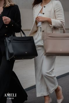 """SEEFELD is the perfect bag for striving business women. We can't wait to wear it with our favorite fall outfits! It combines minimal and classic design with the highest functionality - the perfect companion for your work outfits. The removable laptop case fits up to 14"""" laptops. Did you know that our bags can also be attached to your suitcase to make it a great travel bag? Find out more about our sustainably produced leather handbags. Zurich, Fall Outfits, Work Outfits, Business Outfits, Laptop Case, Travel Bag, Business Women, Leather Handbags, Minimalism"""
