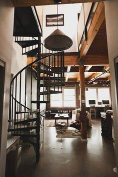 I love spiral stair cases, although I feel that it would get very old after awhile!
