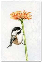 Adorable little chickadee watercolor with orange zinnia on etsy...