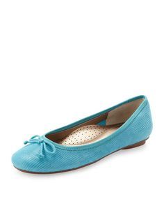 Savvy Lizard-Embossed Ballerina Flat, Turquoise by Neiman Marcus at Last Call by Neiman Marcus.