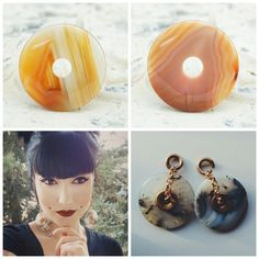 Caramel brown crazy lace agate donut ear weights by DeadFacePlugs
