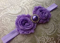 The Lavender Shabby Chic Duo Headband or Hair Clip on Etsy, $9.50