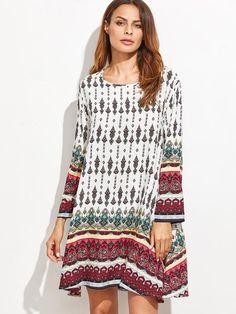 White Tribal Print A Line Dress