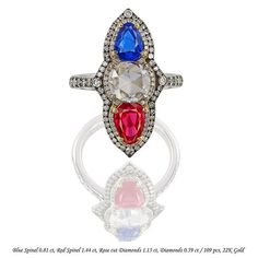 Neon Cobalt Blue Spinel from Luc Yen, Neon Red Spinel from Namya, old cut diamond in IVY ring.  www.ivynewyork.com