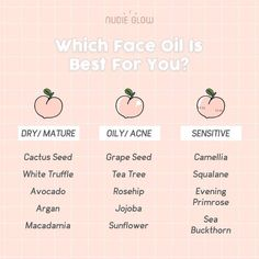 Face Oil Skin Care Guide (via Nudie Glow) - Care - Skin care , beauty ideas and skin care tips Oily Skin Care, Skin Care Regimen, Anti Aging Skin Care, Natural Skin Care, Dry Skin, Smooth Skin, Sensitive Skin Care, Face Skin Care, Skin Tips